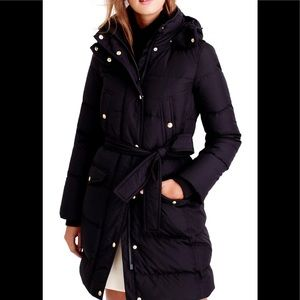 J. Crew Wintress Belted Down filled Winter Coat